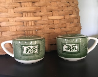Royal Co. Colonial Homestead Salt and Pepper Shakers, Green and white salt and pepper shakers, rustic salt and pepper shakers