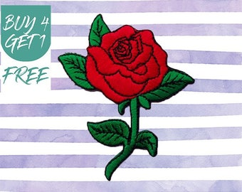 Rose Patch Love Patches Iron On Patch Embroidered Patch Red Flower Valentines
