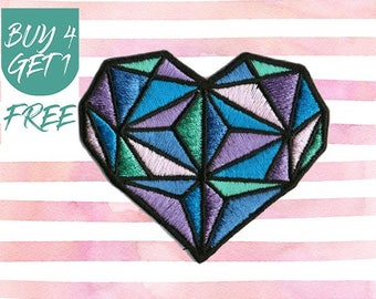 Diamond Patches Heart Patches Iron On Patch Embroidered Patch Sew On Patch Patches For Jeans