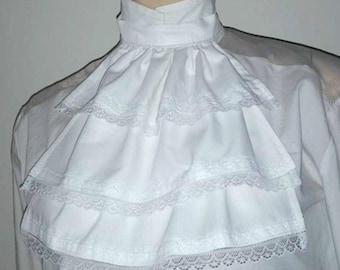 White Cotton & Lace Jabot Cravat Collar 3 Layers Steampunk Victorian Fancy Dress Theatre Regency Burlesque