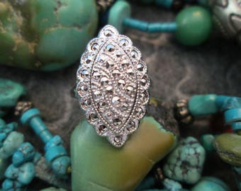 Stunning Vintage Theda Ring>> Sterling Silver & Genuine Marcasite>> 1950's New old stock, never worn> Signed