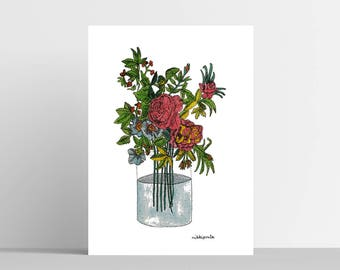 A4 coloured flowers in vase
