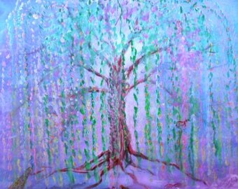 FANTASY TREE PAINTED On Canvas in Acrylics.  Free Shipping in Australia.  76cm x 61cm