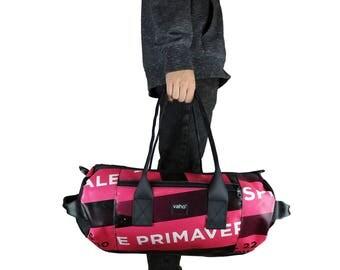 Recycle Duffel Bag. Vegan Weekender Bag. Waterproof Overnight Bag. Gym Bag Man Woman. Black Duffle Inner Tube Kit Bag. Handmade Sports bag.