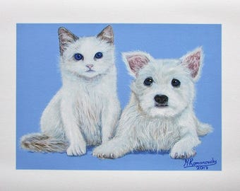 A4 Giclée Print entitled 'Perfect Pals' from an original acrylic painting by artist Martin Romanovsky