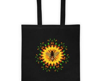 Tote bag Honey bee sunflower design