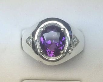 925 Silver Synthetic Amethyst February Birthstone Men Ring sizes 6 up to 14