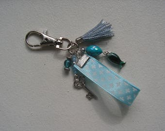 Jewelry bag, blue, turquoise Keychain, charms