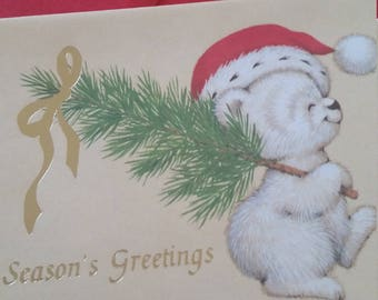 Vintage Greeting Card - Sangamon Christmas Bear Carrying Christmas Tree - Signed BDM