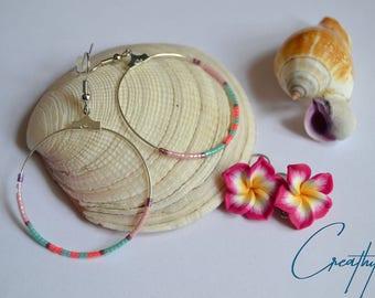 Boho hoop earrings with beads Miyuki-pink, purple, turquoise, coral