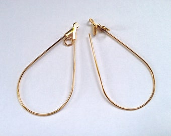 1 pair of long drops plated gold, decorating, 40X22mm