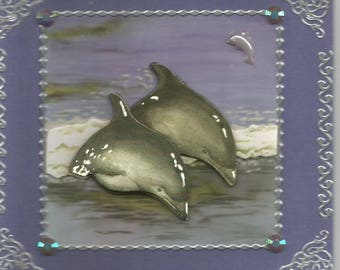 Animals, 3d card, handmade, category dolphins - birthday, thank you, get well, retirement, dolphins, whales, sea, ocean