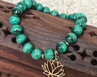 Malachite, gold filled and Silver 925 Gold Bracelet