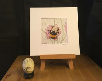 BEE art, Print, artwork, insect, 232mm x 232mm, wildlife, mounted, perfect gift, nature, home decor, for her, for him, bee lover