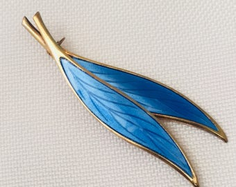 David Andersen Norway Blue Enamel Leaf Pin Brooch Sterling Silver 925 and Gold Plated