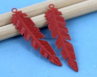"2 prints ""Feather"" pendant stylized - red Orange matte - Sun 8x35mm # A81"