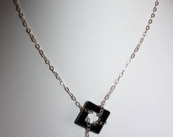 Swarovski Crystal Black necklace, mounted on 925 sterling silver chain.