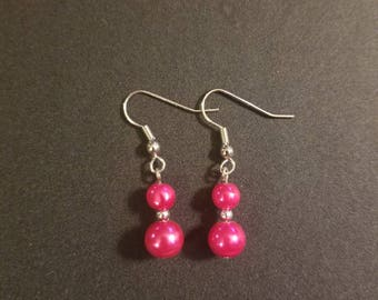 Pink double ball ear rings