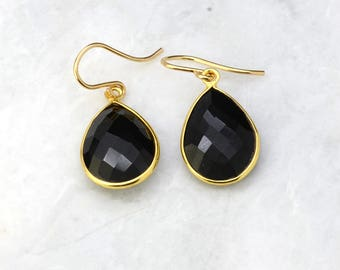 Gold Earrings - Black Onyx Gemstone Earrings - Dangle Drop Earrings - Bridesmaid Gift Idea