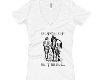 Buns Of Steel..., Womens V-Neck T-shirt
