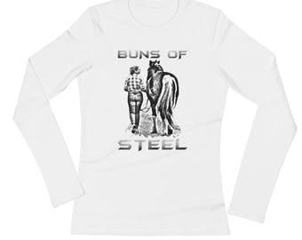 Buns Of Steel..., Ladies Long Sleeve JerseyT-Shirt