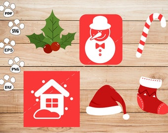 Snowman Clipart , Snowhouse, Christmas Cap, Socks Svg, cricut, cameo, silhouette cut files commercial & personal use
