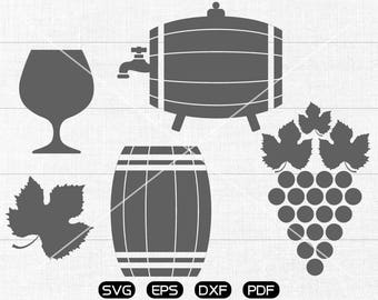 Red wine SVG, Wine cup, Cask, Grape svg Clipart, cricut, silhouette cut files commercial use