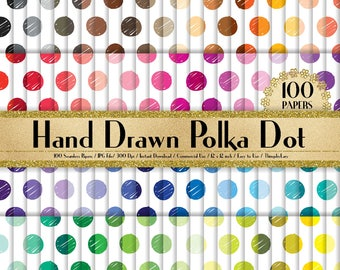 "100 Seamless Hand Drawn Polka Dot Papers in 12"" x 12"", 300 Dpi Planner Paper, Commercial Use, Scrapbook Papers, Rainbow Paper, Polka Dot"
