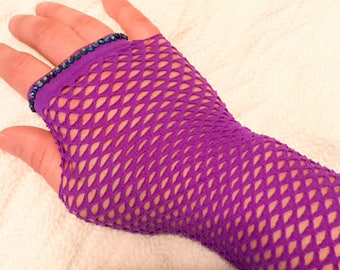 Punk goth purple fishnet fingerless gloves with Swarovski crystal accents