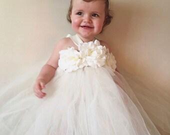 Girls flowergirl cream ivory tutu dress with flower roses& ribbon. Girls Birthday Outfit, Cakesmash.Extra fluffy. Fairy tutu. Unicorn tutu