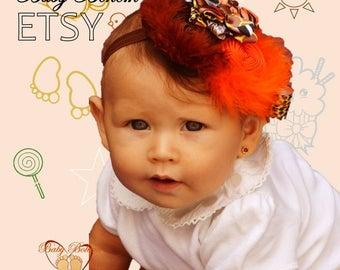 Baby Headband, Baby Girl Bows and Headbands, New Baby Gift, Newborn Headband Bows Baby Head Band with Naked feet sandals