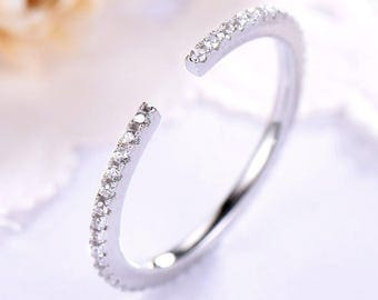 White Gold CZ Diamond Wedding Ring 14k 18k 925 Sterling Silver Open Full Eternity Gap Engagement Bridal Stacking Matching Band Anniversary