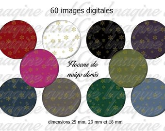 60 digital images for jewelry, cabochons, scrapbooking, diameter 25 mm, 20 mm, 18 mm Golden snowflakes theme