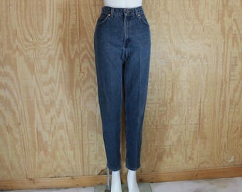 Vintage 1980's LEVI'S Cotton Denim Blue Jeans Orange Tab High Waist Tapered Leg 28 X 30