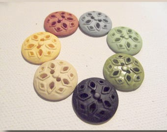 5 star choice white yellow rust green blue black flower lace buttons * 19 mm * 2 holes * 1.9 cm * sewing button