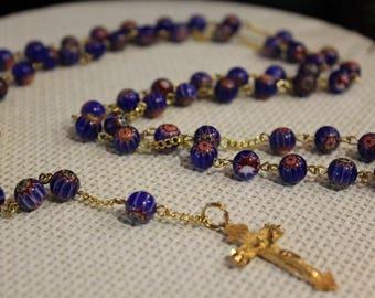 Venetian Sky - Cobalt Gold Plated Rosary