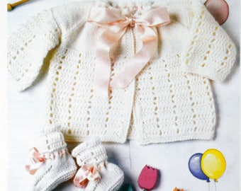 Tutorial cardigan and booties for baby
