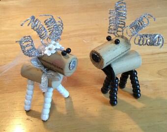 Wine Cork Deer / Reindeer - Bride and Groom