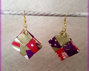 """Earrings in recycled paper laminated, theme """"gift"""""""