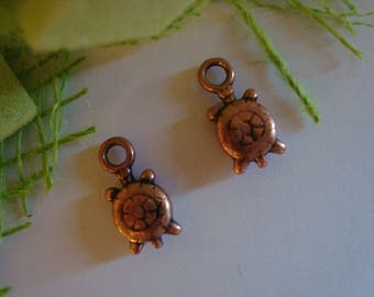 2 brass turtle charms