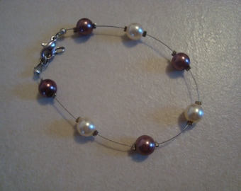 Fancy handmade bracelet Brown and ecru