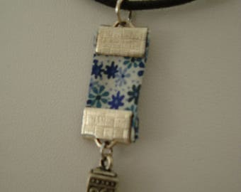 Blue liberty cube charm necklace