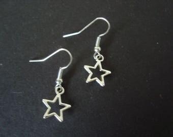 Silver metal star Stud Earrings