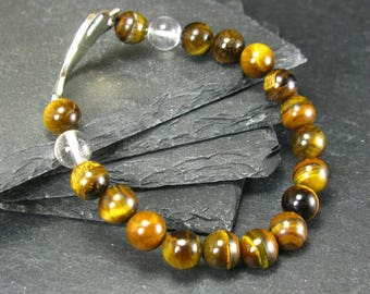 Tiger Eye & Quartz Genuine Bracelet ~ 7 Inches  ~ 8mm Round Beads