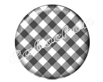 2 cabochons checkered black and white 18mm glass, Just a kiss