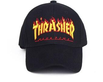Thrasher Magazine Strap back Flames Skateboard Logo Cap Embroidered