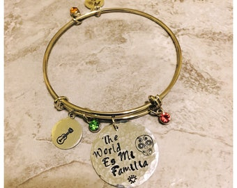 Coco Mi Familia Hand-stamped Bangle Bracelet|Coco Sugar Skull Handmade Hammered Silver Necklace| The world is Mi Famila Charm Bracelet