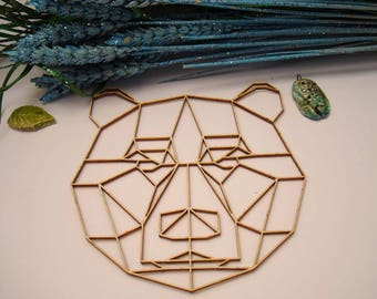 Bear head origami 02057 embellishment wooden creations