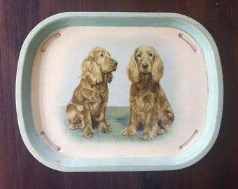 Vintage 1950's Metal Tin Serving Tray of Two Spaniels