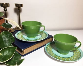Vintage / Mod Set of Two Melmac-style Teacups and Saucers